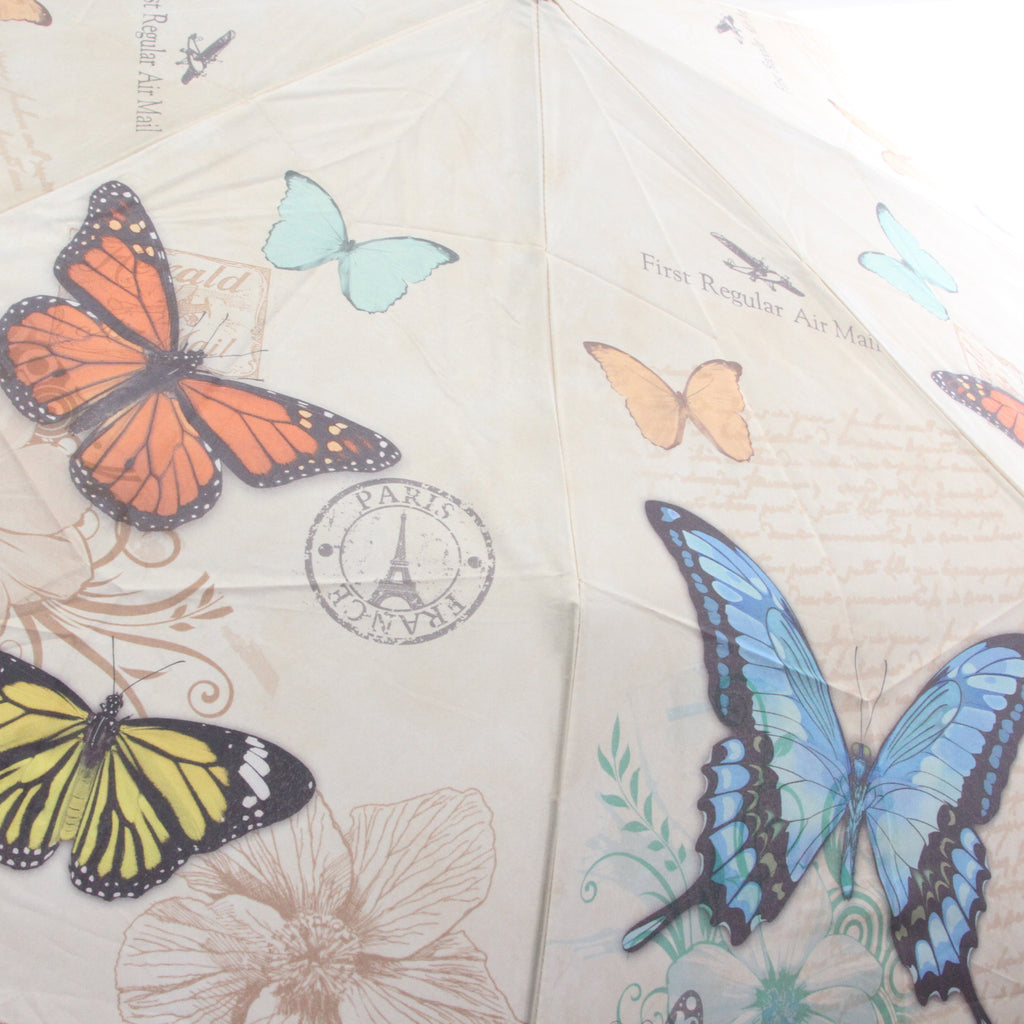Galleria Folding Umbrella Vintage Butterflies - ArtsiHome