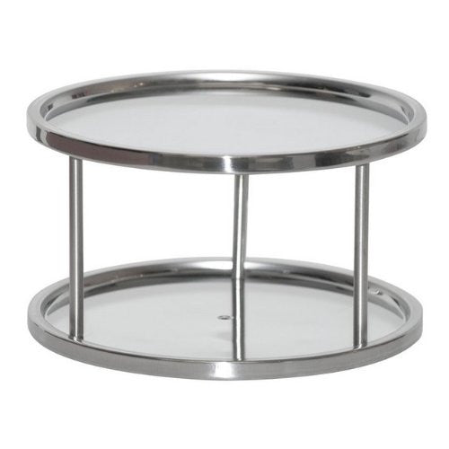 Two Tier Lazy Susan Turntable For Cabinet-Steel (Stainless) (6