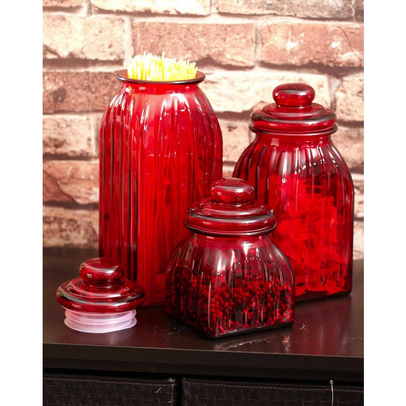 Cypress Home Glass Jar (Set of 3) Color: Red - ArtsiHome