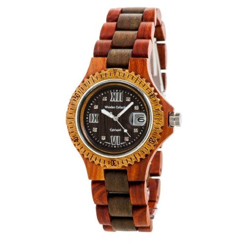 Tense Men's Compass Collection Wooden Watch - Two-Tone Sandalwood & Rosewood - ArtsiHome