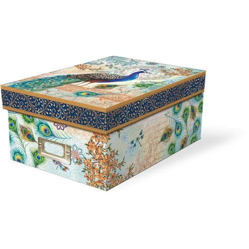 Punch Studio Blue Royal Peacock Photo Storage Box - ArtsiHome