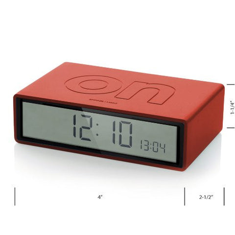 Lexon Flip On/off Alarm Clock Red - ArtsiHome