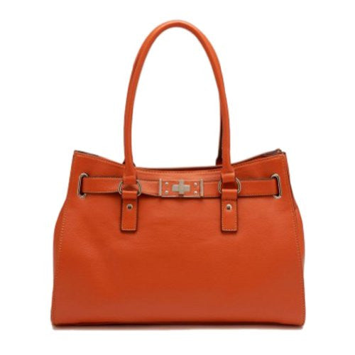 Tosca Belted Satchel Handbag,One Size,Dark Orange - ArtsiHome - Tosca