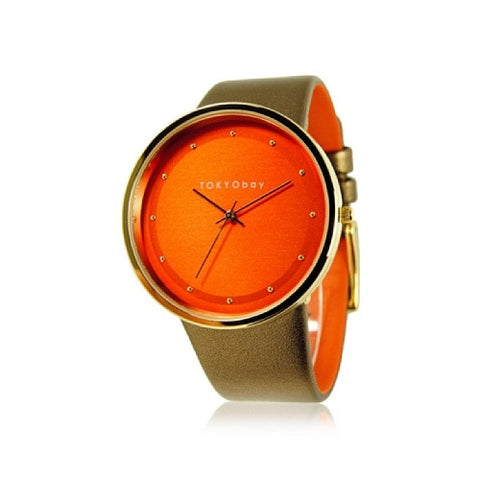 TOKYObay Women's T2025-OR Barbarella Bronze/Orange Leather Watch - ArtsiHome - Tokyobay