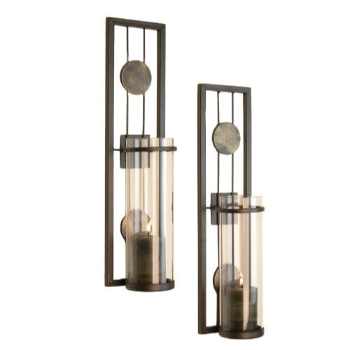 Contemporary Metal Candle Sconce Set - 2 Pc - ArtsiHome