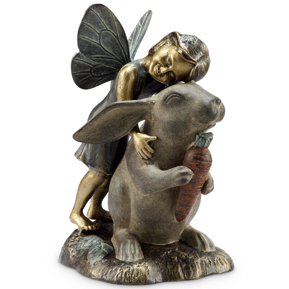SPI Garden Collection Happiness Garden Sculpture (Fairy and Rabbit) - ArtsiHome