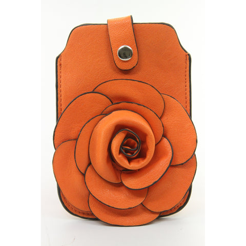 Mellow World Rosette Cell Phone Pouch (Orange) - ArtsiHome