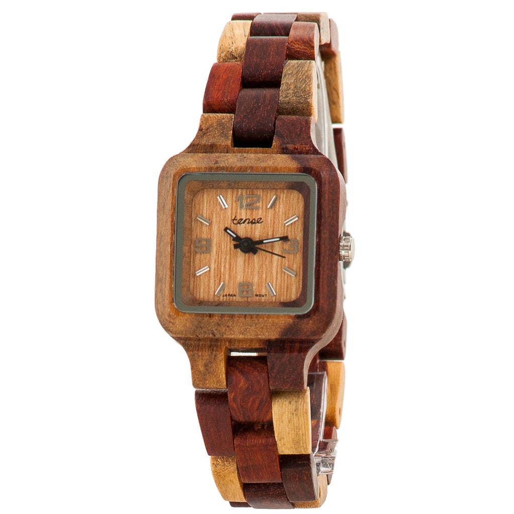 Tense Sandalwood Inlaid Wood Summit Small Wrist Watch - ArtsiHome