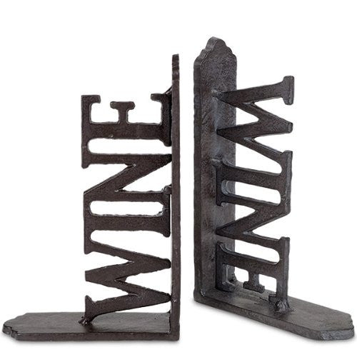 WINE Book Ends, Unique Metal Sturdy WINE Book Ends, Great Home Bar Kitchen Decor - ArtsiHome - Epic
