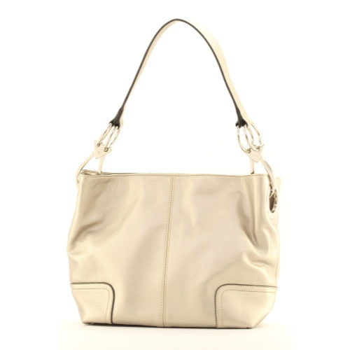 New Tosca Handbag, Purse Bucket Style Shoulder Bag Leather Look, 640 Color Light Pewter - ArtsiHome