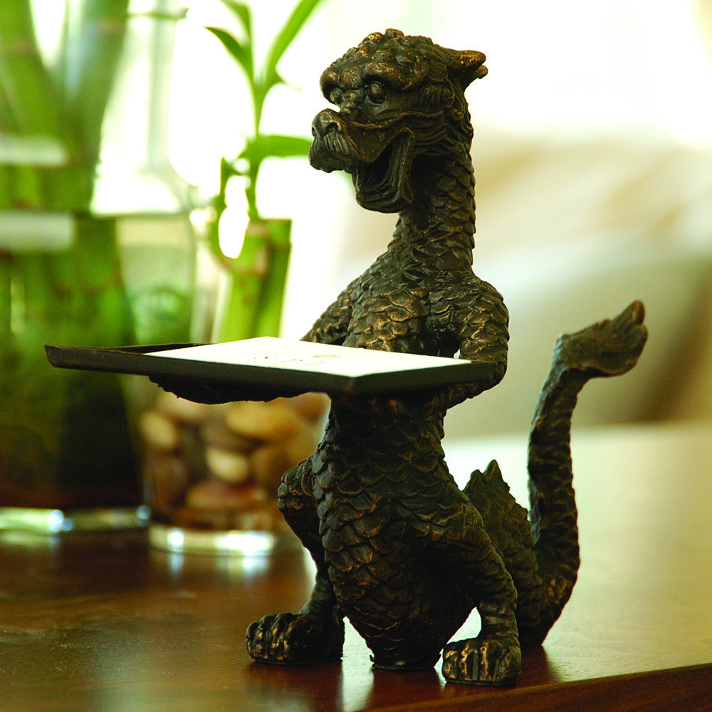 Dragon Business Card Holder 6 1/4 Inches Tall Iron with a Bronze Finish - ArtsiHome