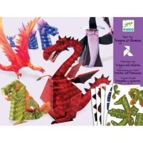 Djeco / Folded Paper Toy Kit, Dragons and Chimeras - ArtsiHome