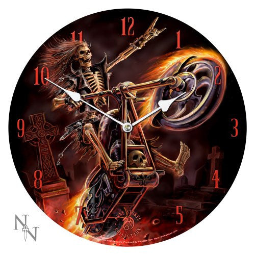 13.5 Hell Rider Skeleton Motorcycle Chopper Anne Stokes Collection Fantasy Goth Angel Art Round Wall Clock - ArtsiHome