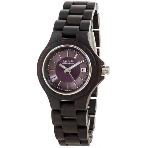 Tense Dark Sandalwood Mens Wood Watch G4302D Purple - ArtsiHome