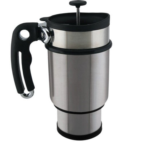 Planetary Designs Stainless Double Walled French Press Travel Mug-14oz - ArtsiHome