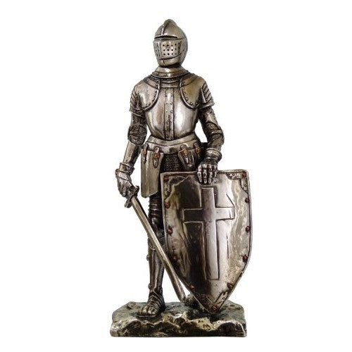 Crusader Knight Statue Silver Finishing Cold Cast Resin Statue 7 (8718) - ArtsiHome