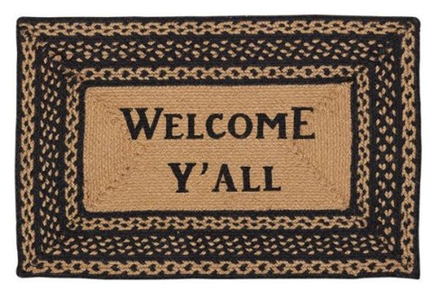 Home - Farmhouse Jute Rug Rectanglar Stencil Welcome Y'all 20x30 - For Front Door
