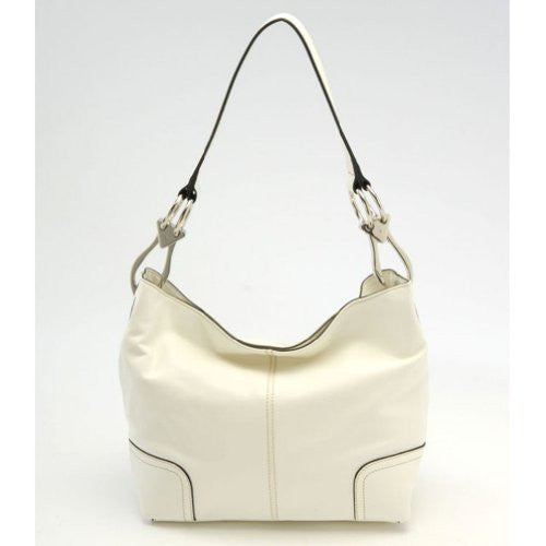 New Tosca Handbag, Purse Bucket Style Shoulder Bag Leather Look, 640 Color White - ArtsiHome