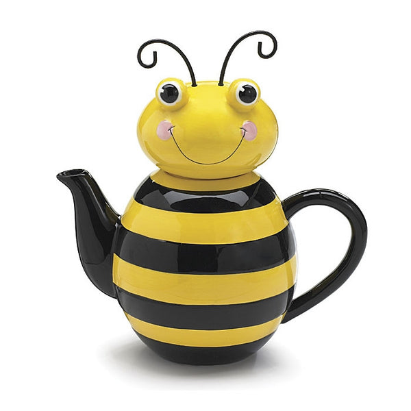 Honey Bee Ceramic Teapot Kitchen Home Decor Bug Bumble - ArtsiHome
