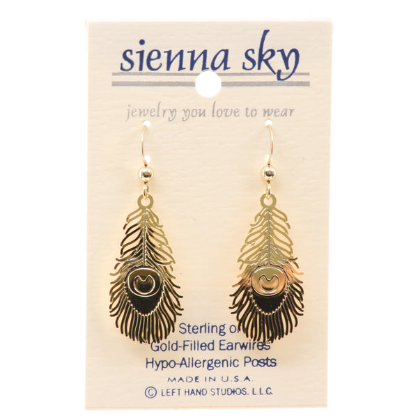 Sienna Sky Gp Peacock Feather Earrings - ArtsiHome