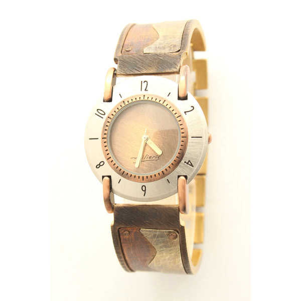 Watchcraft Handmade Milieris Limited Edition Unisex Watch. Large Round Case. Copper tone dial. Copper and Silver Wave Design on Wide Band. - ArtsiHome - Watch Craft - 4