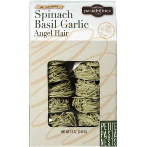 Spinach Basil Garlic Angel Hair Pasta Nest, 12-ounces - ArtsiHome