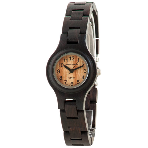 Tense Ladies Solid Dark Sandalwood Round Bracelet Wood Watch w/ Small Round Face - ArtsiHome