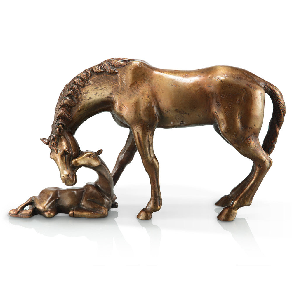 SPI Home Collection Brass Mare & Foal Statue - ArtsiHome