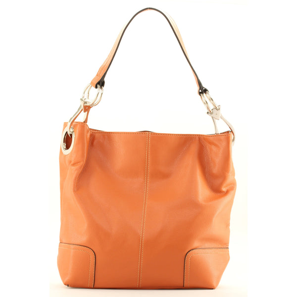 New Tosca Handbag, Purse Bucket Style Shoulder Bag Leather Look, 641 Color Light Orange - ArtsiHome