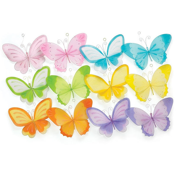 Set Of 12 Assorted Hanging Butterflies 10