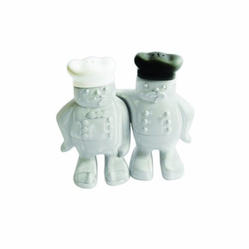 Make My Day Claude and George Salt and Pepper Shaker, Black/White, Set of 2 - ArtsiHome