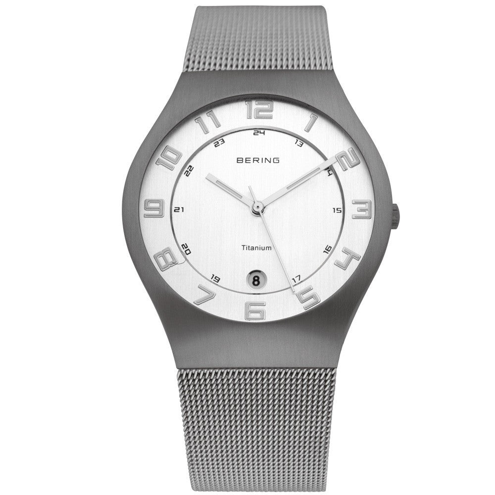 Bering Time 11937-000 Mens White Grey Watch - ArtsiHome