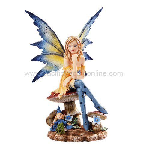 *New* 2013 Amy Brown Fantasy Magician Faery Mushroom Fairy Statue Enchanted 6h Figurine - ArtsiHome