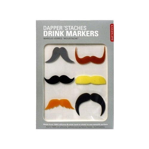 Kikkerland Dapper 'Staches Drink Markers ** 2 PACK ** - ArtsiHome
