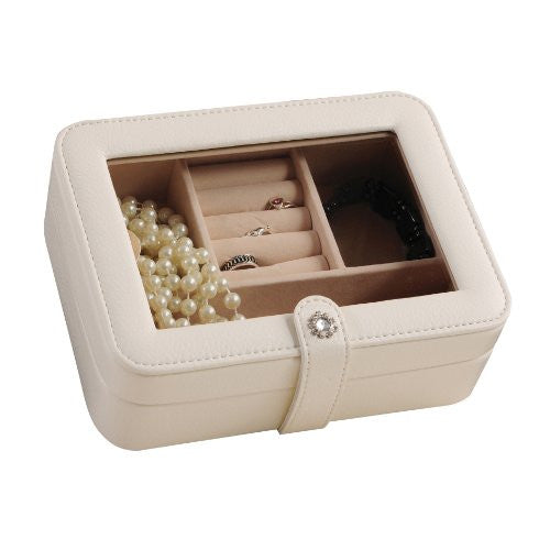 Mele and Co Rio Faux Leather Glass Top Jewelry Box, 7.5-Inch by 5.9-Inch by 2.5, (Ivory) - ArtsiHome