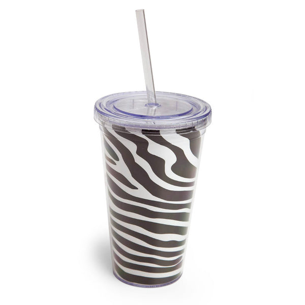 Cypress Home 17-Ounce Insulated Cup With Lid and Straw, Zebra Pattern - ArtsiHome