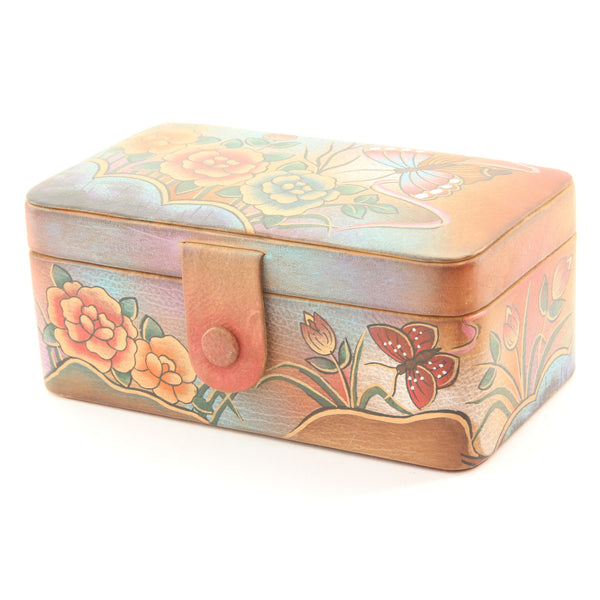 Anuschka Hand Painted Leather Jewelry Box Mirror Bag - ArtsiHome