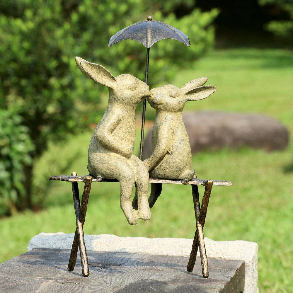 SPI Bunny Lovers on Bench Aluminum Sculpture - ArtsiHome