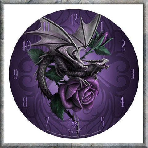Licensed Anne Stokes Fantasy Gothic Dragon Beauty Purple Rose Wall Clock - ArtsiHome