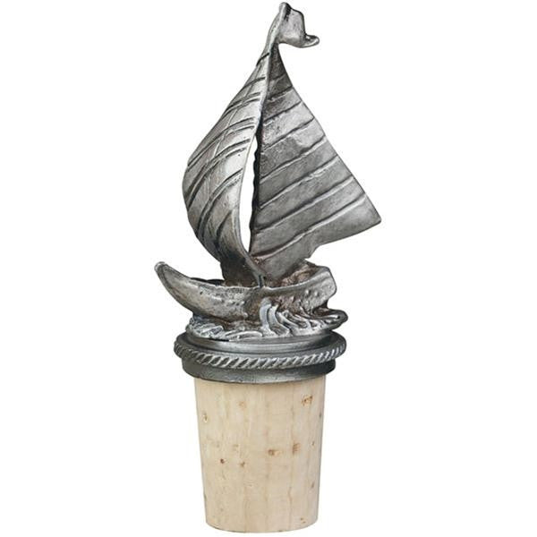 Pewter Sailboat Wine Bottle Stopper with Chain and Retaining Ring - ArtsiHome