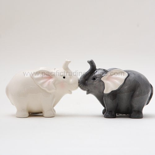 Ceramic Magnetic Salt and Pepper Shaker Set - Elephants They Kiss 8795 - ArtsiHome