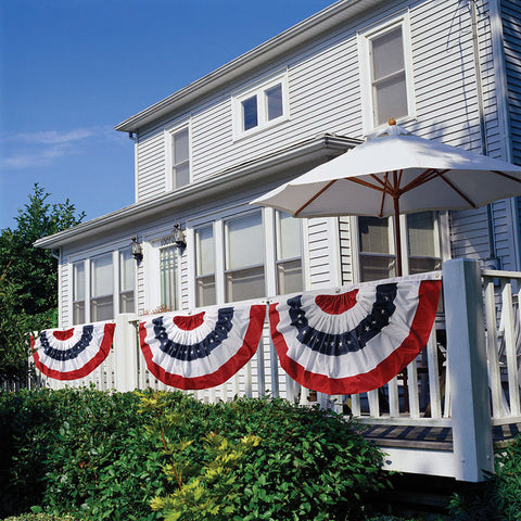 Evergreen Enterprises Patriotic Bunting 2-Sided Pleated Flag - ArtsiHome