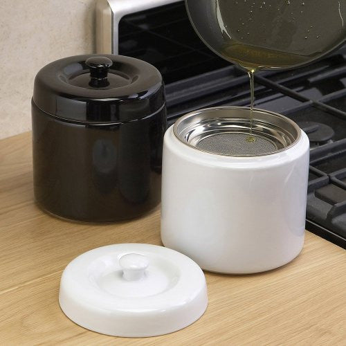 Black Stoneware Kitchen Grease Keeper - ArtsiHome