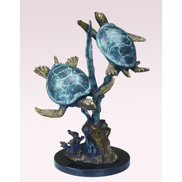 SPI Sea Turtle Duet with Seagrass Brass and Marble Sculpture - ArtsiHome