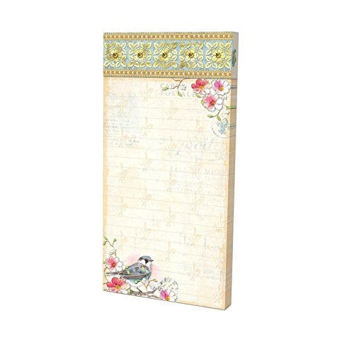 Punch Studio Embellished Magnetic Shopping List Pads - Bird Blossoms 43023 - ArtsiHome