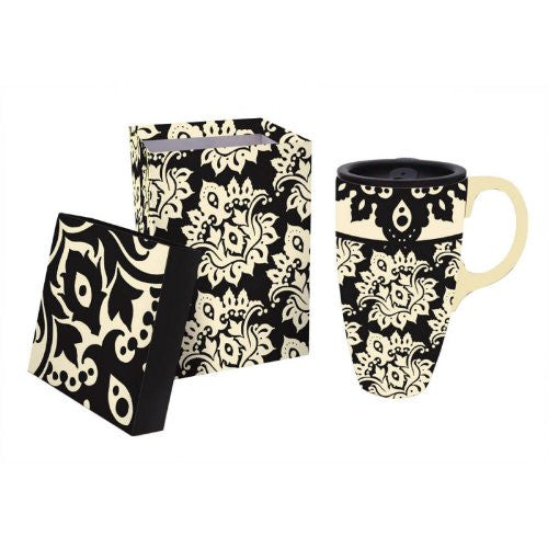 Extracts Black Plume Pattern Ceramic Latte Travel Mug with Gift Box - ArtsiHome - Evergreen Enterprises