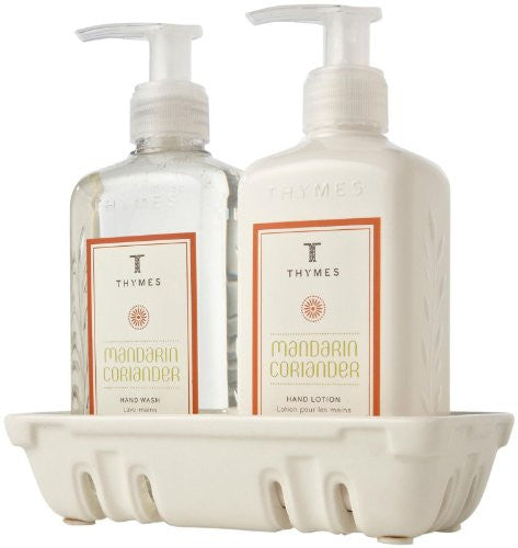 Thymes Sink Set with Caddy, Mandarin Coriander, 8.25 oz