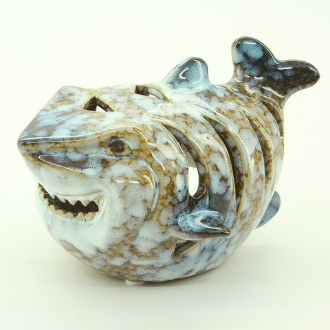 Ceramic Shark-Shaped Candle Holder - ArtsiHome