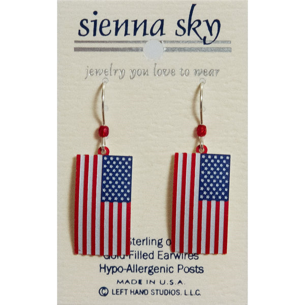 Sienna Sky Dangle Earrings Metal American Flag Patriotic - ArtsiHome