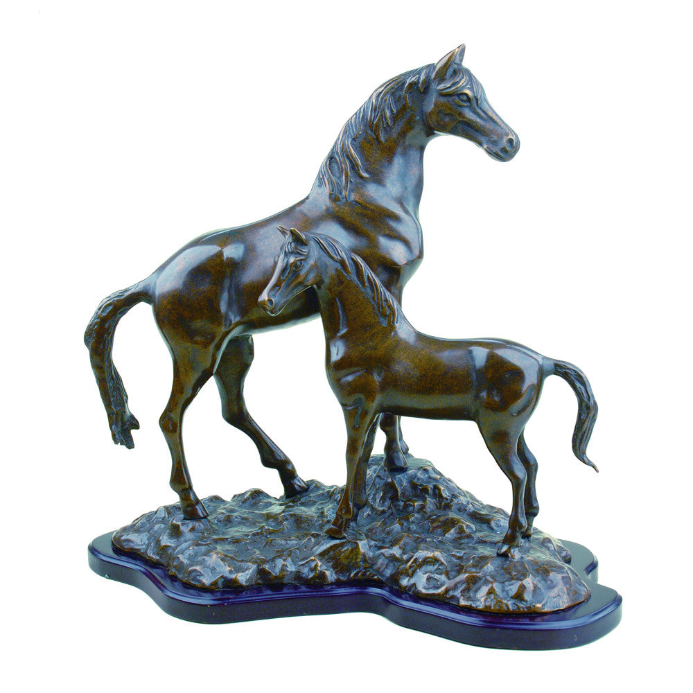 SPI Horse with Colt Brass Sculpture - ArtsiHome